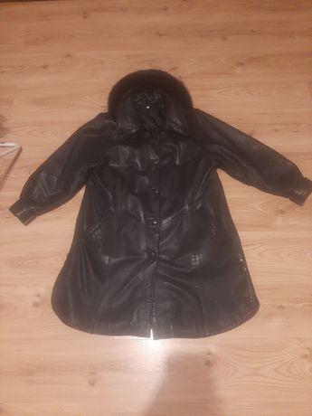 Płaszcz zimowy skórzany damski jesienno-zimowy  z odpinaną podpinką