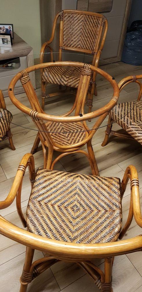 Krzesła i stół  ratanowy