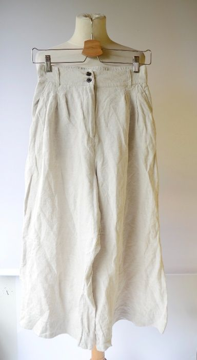 Spodnie Beżowe H&M Rozszerzane Nogawki S 36 Len Lniane Zara Mango C&A Płock - image 1