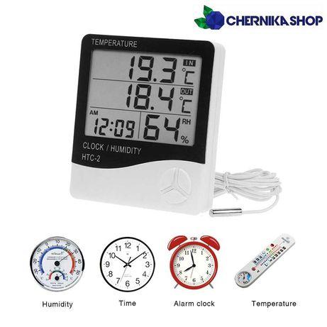 Термометр с выносным датчиком,гидрометр,часы,будильник,градусник HTC-2