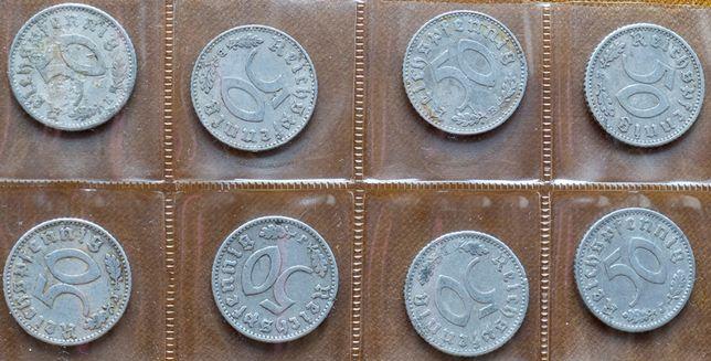 Zestaw 8 x 50 Pfennig od 1935 do 1943 III Rzesza