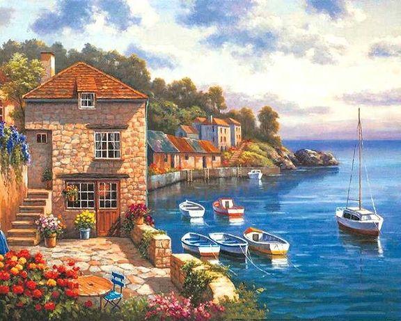 """Namaluj obraz sam -"""" łódki morze Grecja """" do malowania po numerach"""