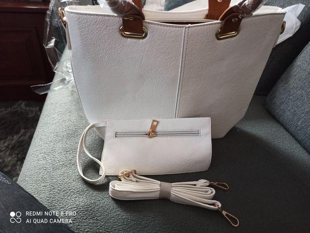 Nowa Biała torebka z pięknymi rączkami i portfel organizer