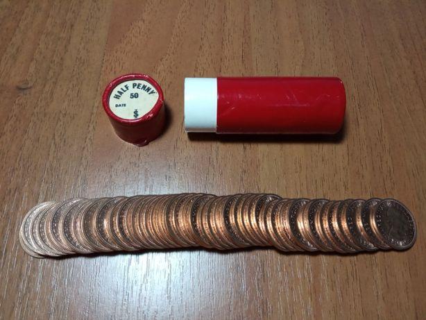 UNC банковский набор х50шт Англия 1/2 пенни 1967 корабль монеты
