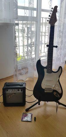Gitara elektryczna VISION + wzmacniacz + statyw(dla początkujących)