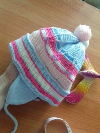 шапочка шапка бубоны зима малышам