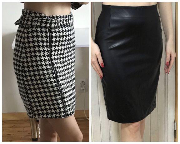 Трендовая юбка гусиная лапка Defacto, экокожа черная