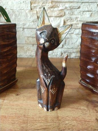Drewniany kot dekoracja