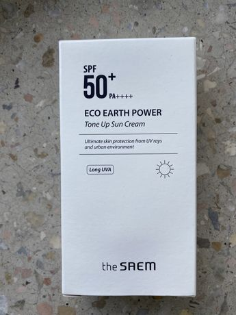Солнцезащитный крем корейский spf 50+ the saem eco earth power tone up