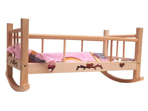 Łóżeczko Kołyska Drewniane 51cm Dla Lalki 4422