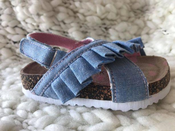 Sandałki niebieskie falbanka rozm 22