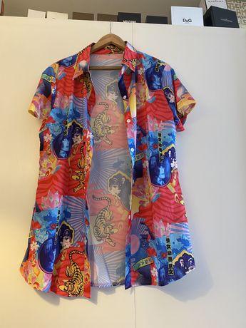 Camisa/Camiseiro  padrao chines em cetim tamanho L