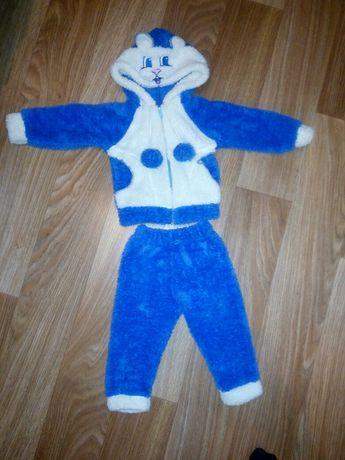 Детский теплый костюм травка штанишки и кофточка