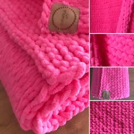 Kocyk kolor różowy 80x90 handmade