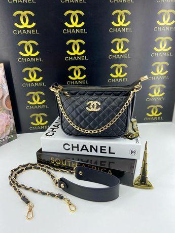 Брендовая кожаная сумка 3 в 1 Chanel Шанель женская клатч портмоне