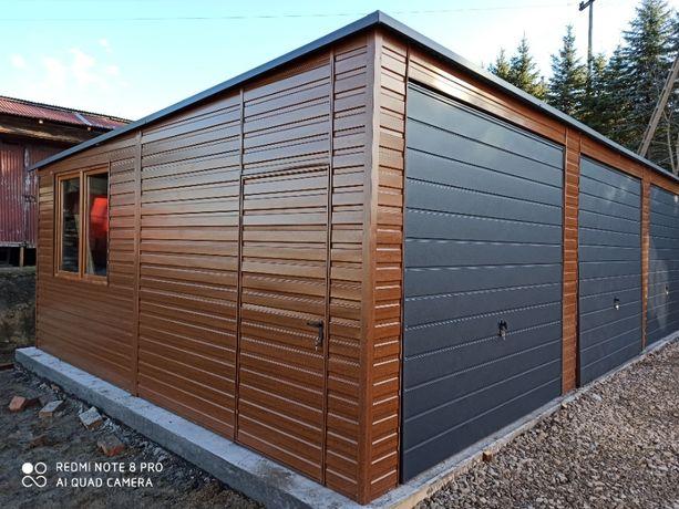 Garaż blaszany, Wiata, Blaszak 10x6 drewnopodobny