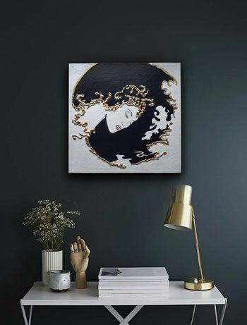 Картина интерьерная 3d поталь золото акрил