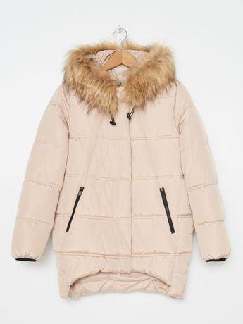 Nowa pikowana kurtka HOUSE z kapturem kremowa XL