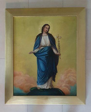 Stary obraz olejny sakralny Matka Boska