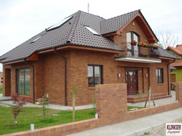 Elewacje z cegły klinkierowej, rozbiórkowej i ogrodzenia z klinkieru ,