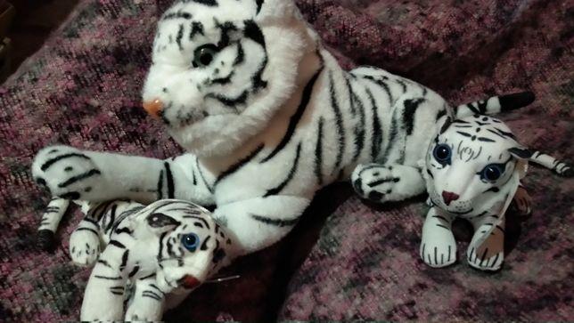 игрушка мягкая плюш семья 3 шт тигр мама и тигренок белый германия