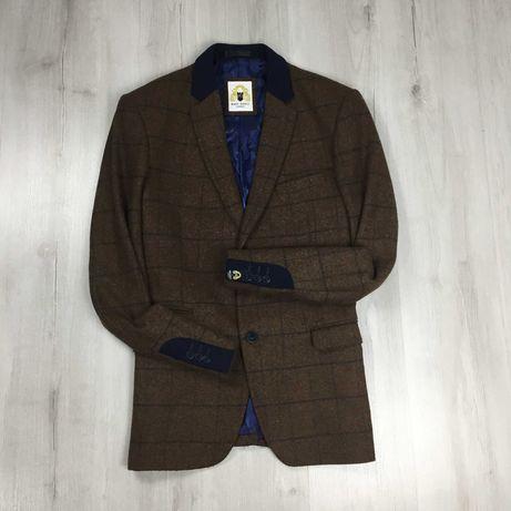 Пиджак приталенный коричневый темный в клетку клетчатый Marc Darcy