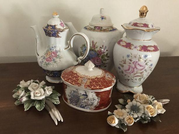 Loiça francesa Limoges - potes, pratos, flores