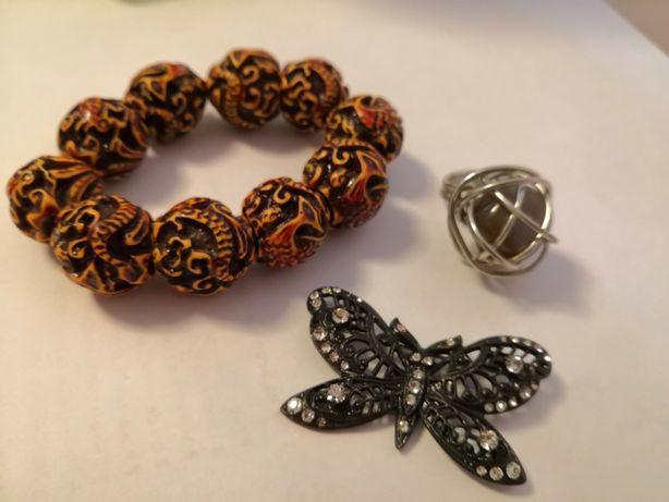 ZESTAW Bransoleta, pierścień i broszka czarny motyl