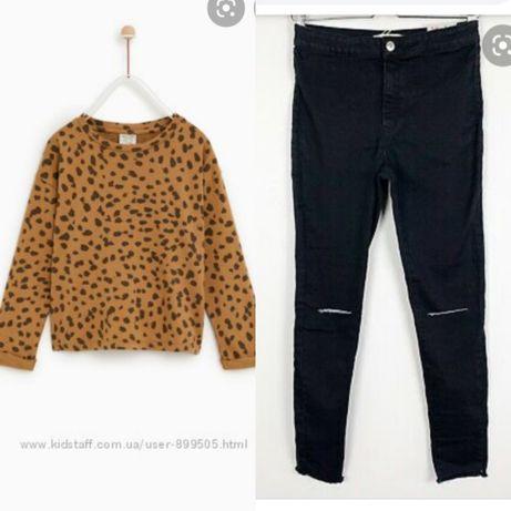 Леопардовый реглан (кофта,Лео) и скинни (джинсы,черные,дырками) Zara