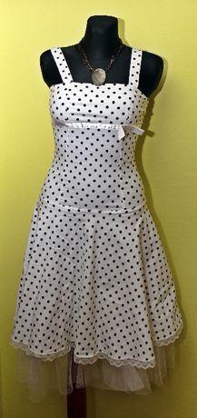 Sukienka biała, kropki, koronka, rozm. 38, PREIS, na ramionkach, lekka
