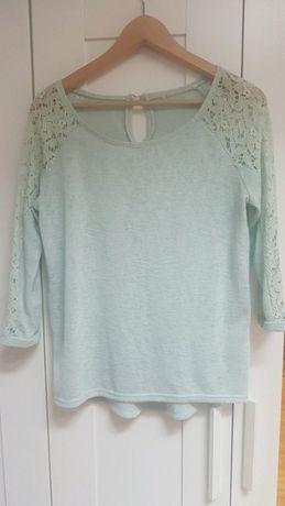 Sweterek z koronką, miętowy, L