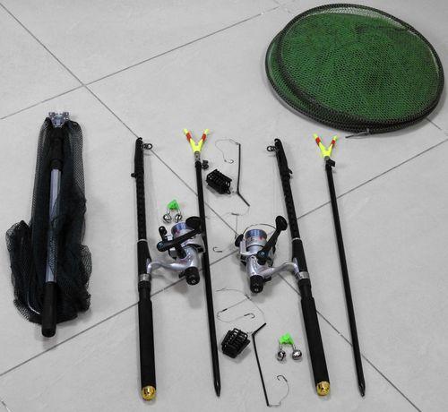 Спиннинги 2.7м с катушками в сборе, Рыболовный комплект, садок, подсак