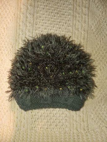 czapka zimowa kudłatka ładna kudłata czapka zielona ciepła czapka