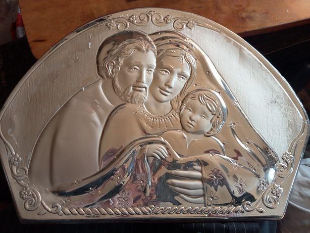 Plakieta Madonna z Dzieciątkiem Jezus i Św. Józef. Matka Boska. Ag