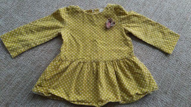 Zara musztardowa sukienka 80, 12-18m