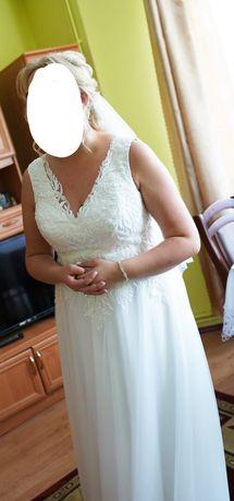 Przepiękna suknia ślubna, welon i bolerko
