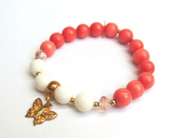 Handmade_Nowa bransoletka z kamieni marmurek, koral biały, kryształki
