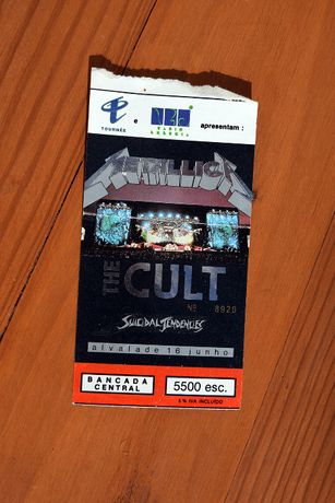Bilhete Concerto Metallica Alvalade 1993