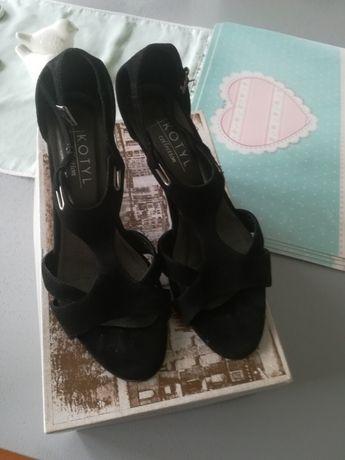 Sandały szpilki kotyl markowe czarne 38 zamszowe niski obcas buty