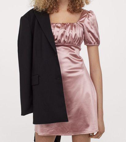 Aksamitna sukienka z bufiastymi rękawami pudrowy róż divided h&m