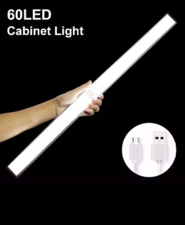 LED светильник лампа 40 и 60 светодиодов датчик движ света аккумулятор