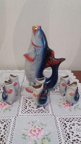Фарфоровый коньячный набор, штоф - Рыбки ссср.