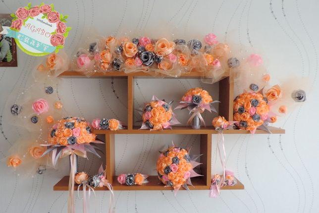 Zestaw ślubny róże bukiet wstążki opaska korsarz