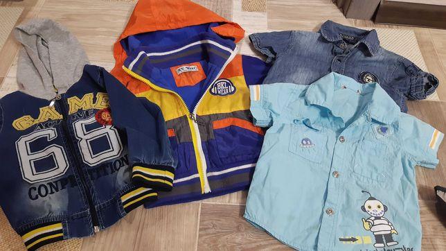 Ветровка на мальчика утеплен. на 1 год, джинсовка и рубашка на 1.5-2 г