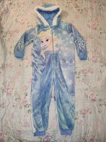 Теплая махровая пижама кигуруми слип Холодное сердце Эльза Frozen