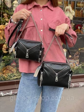Женская кожаная сумка на через плечо Polina & Eiterou жіноча шкіряна ч