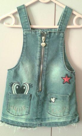 Sukienka jeansowa,princeska F&F roz.18-24m. Spódniczka na szelki.