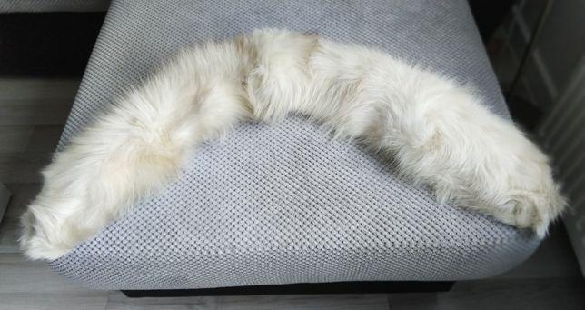 szal z lisa biały futro