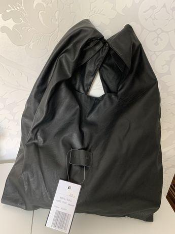 Torba czarna skórzana shopper bag