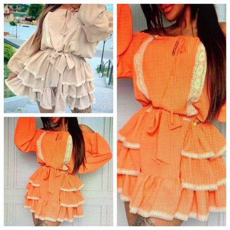 Sukienka la. Perla pomarańcz falbany nowość hiszpanka lato